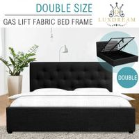 LUXDREAM Wooden Double Bed Frame Gas Lift Storage Bedroom Furniture