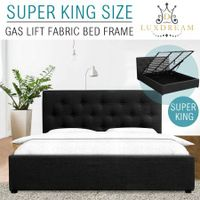 LUXDREAM Wooden Super King Bed Frame Gas Lift Storage Bedroom Furniture