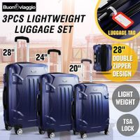3 Piece Expandable Spinner Luggage Suitcase Set w/TSA Lock - Dark Blue