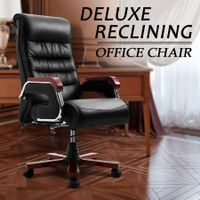 Wooden Executive Office Chair High Back Ergonomic PU Leather Computer Chair Wood Base