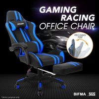 PU Office Computer Chair Ergonomic Gaming Sport Race Chair w/Footrest - Blue & Black