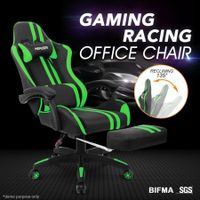 PU Office Computer Chair Ergonomic Gaming Sport Race Chair w/Footrest - Green & Black