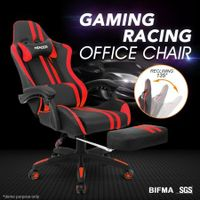 PU Office Computer Chair Ergonomic Gaming Sport Race Chair w/Footrest - Red & Black
