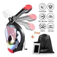 Full Face Snorkel Mask, Foldable Easybreath 180 Degree Panoramic View and Detachable Gopro Mount, Anti Fog Anti Leak  Snorkeling Gear Set for Adults