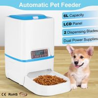 6L Automatic Dog Feeder Timed Auto Pet Cat Food Dispenser w/Voice Recorder
