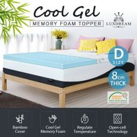 8cm Double Cool Gel Memory Foam Mattress Topper Bamboo Cover Bedding