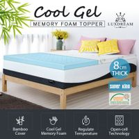 8cm Super King Cool Gel Memory Foam Mattress Topper Bamboo Cover Bedding