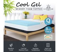 8cm Queen Cool Gel Memory Foam Mattress Topper Bamboo Cover Bedding