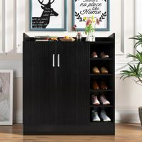 17 Pairs Shoe Cabinet Rack Wooden Storage Shelf Organiser 2 Doors Cupboard - Black
