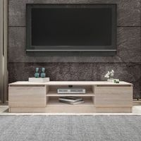 TV Stand Entertainment Unit 2 Doors Wooden Storage Cabinet Furniture - Oak