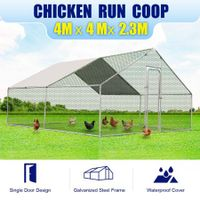 New Large Chicken Coop Metal Guinea Pig House Rabbit Hutch Outdoor Cage 4 x 4 x 2.32m