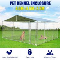New Dog Kennel Pet Enclosure Outdoor Run Exercise Playpen Fence Cage 4.6 x 4.6 x 2.3m