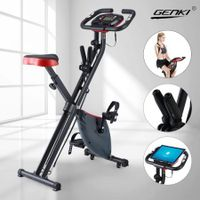 Genki Magnetic Exercise Bike Folding Upright X-Bike Bicycle Cycling Fitness w/Resistance Bands