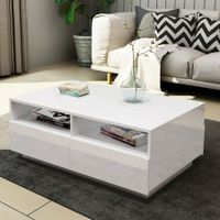 New Modern Coffee Table 4 Drawer Storage Shelf High Gloss Furniture Wood White