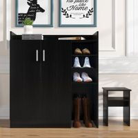 Modern Shoe Cabinet Rack Storage Cupboard with Seat Shelf Organiser 16 Pairs Black