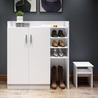 Modern Shoe Cabinet Rack Storage Cupboard with Seat Shelf Organiser 16 Pairs White