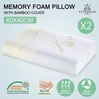 2 x Visco Elastic Memory Foam Contour Pillow Home Hotel Bedding w/ Bamboo Fabric Cover