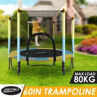 "Genki 60"" Round Kids Trampoline Indoor Outdoor Rebounder w/Safety Enclosure Net"