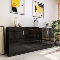 Modern Sideboard Buffet Storage Cabinet High Gloss Front 4 Doors Cupboard Black