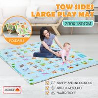 ABST 200X180CM Baby Play Mat Crawling Playmat Double Sides W/Animal & Alphabet Patterns