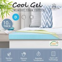 10cm Double Size Cool Gel Memory Foam Mattress Topper Underlay Bamboo Cover