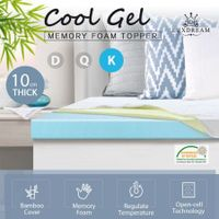 10cm Super King Size Cool Gel Memory Foam Mattress Topper Underlay Bamboo Cover