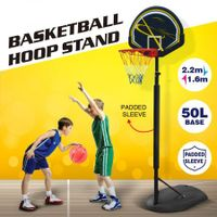 Genki 1.6-2.2m Junior Portable Basketball Hoop Stand Backboard Net Ring Set