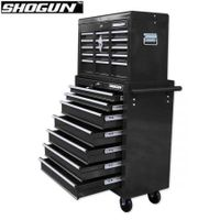 Shogun Mechanic Tool Box on Trolley with 16 Drawers, Side Handles and 4 Castors - Black