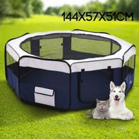 Eight Panel Portable Pet Kennel-Blue