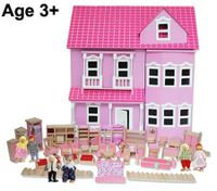 Wooden Doll House - Pink Miniature Mansion with Accessories