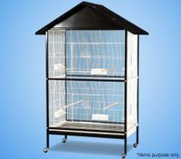 Bird Parrot Cage - Black Metal Frame with White Cage & House Style Roof