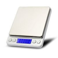 i2000 3kg 0.1g Mini Digital Scale Stainless Steel Platform Blue Backlight Display Weighing Tool with Tray