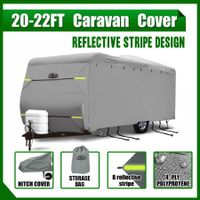 Heavy Duty 20-22ft Waterproof UV 4 Layer Caravan Cover w/Hitch Cover & Carry Bag