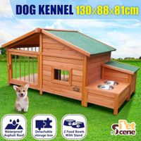 3XL Pet Dog Kennel Timber Puppy House Wooden Cat Log Cabin w/Storage Box Bowls