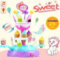 Kids Pretend Play Toys Rotated Candy Ice Cream Lolly Stand W/Lights & Music