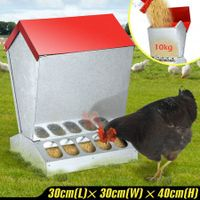 10KG Galvanized Chicken Feeder Poultry Feeder Supplies W/ waterproof Lid