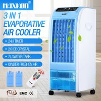 MAXKON 7L Evaporative Air Cooler Quiet Fan Ionizer Button 3 Modes W/Remote Control Blue