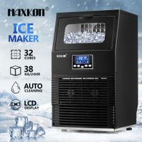 Maxkon 38kg Commercial Ice Cube Maker Machine Home Benchtop Countertop Fast Freezer