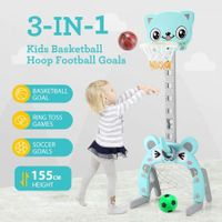 3-in-1 Kids Basketball Hoop Stand Backboard Ring Set Football Soccer Goal Sport Game