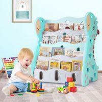 Kids Bookshelf Children Bookcase Magazine Rack Display Shelf Book Organiser - Blue