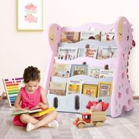 Kids BookShelf Children Bookcase Magazine Rack Display Shelf Book Organiser - Pink