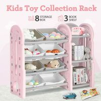 Kids Toy Organiser Box Storage Display Shelf Plastic Toy Bin Book Rack Cabinet - Pink