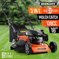 "SHOGUN 3-In-1 Cordless Lawn Mower Self Propelled 18"" 139cc 4 Stroke Petrol Lawnmower"