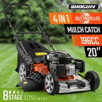 "SHOGUN 4-In-1 Cordless Lawn Mower Self Propelled 20"" 196cc 4 Stroke Petrol Lawnmower"