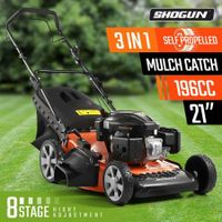 "SHOGUN 3-In-1 Cordless Lawn Mower Self Propelled 21"" 196cc 4 Stroke Petrol Lawnmower"