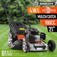 "SHOGUN 4-In-1 Cordless Lawn Mower Self Propelled 21"" 196cc 4 Stroke Petrol Lawnmower"