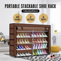 New 40 Pairs 6 Tiers Metal Shoe Rack Stackable Shelf Storage Organizer W/ Cover 2 Rows 90cm Height