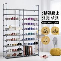 New 60 Pairs 10 Tiers Metal Shoe Rack Stackable Shelf Storage Organizer W/ 2 Rows 170cm Height