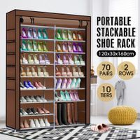 New 70 Pairs 10 Tiers Metal Shoe Rack Stackable Shelf Storage Organizer W/ Cover 2 Rows 160cm Height