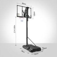 New 2.3-3.05m Portable Basketball Hoop Stand Backboard Net Ring Set Quick Adjust